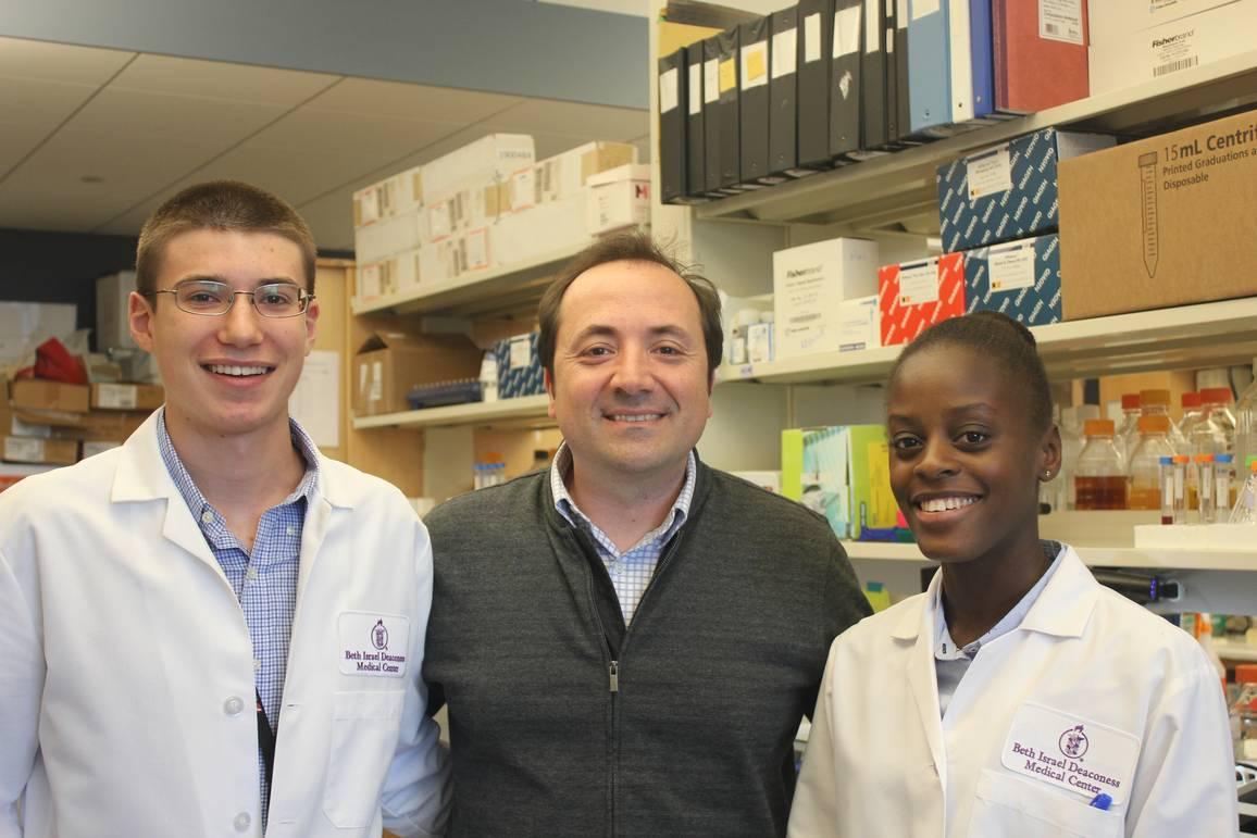 CURE student Alex Kaminsky, Dr. Antoine Karnoub and Dr Julie Konge